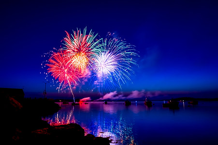fireworks over body of water