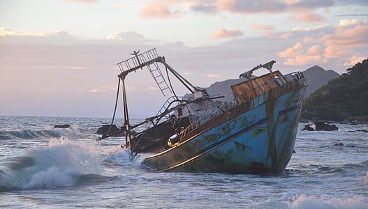 blue ship wreck
