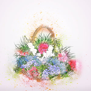 assorted-color of flowers on basket painting