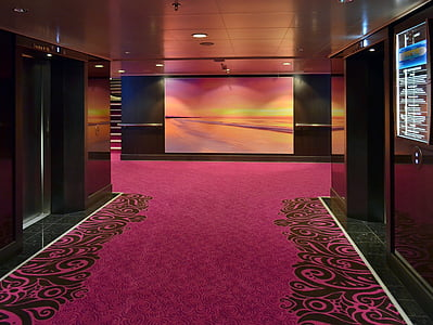 red and black carpet and brown wooden walls