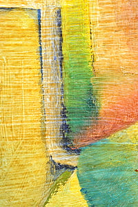 yellow, green, and orange abstract painting