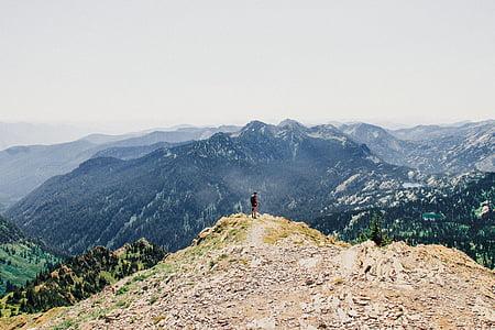 person on gray mountain