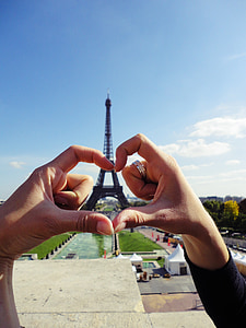 forced perspective photography of couple making heart hand sign during daytime