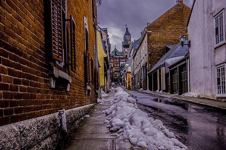 snow on concrete road