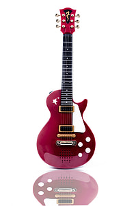 red and pink Les Paul guitar