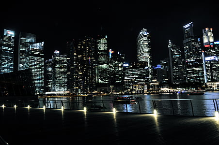 body of water near high buildings at nighttime
