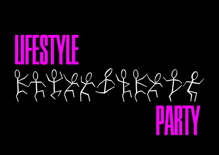 Lifestyle Party text with black background