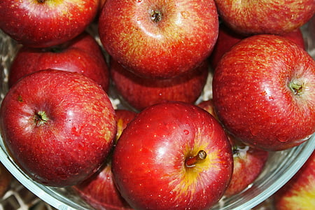 red apples in gray bowl