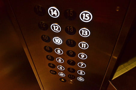 close-up photography of elevator button panel