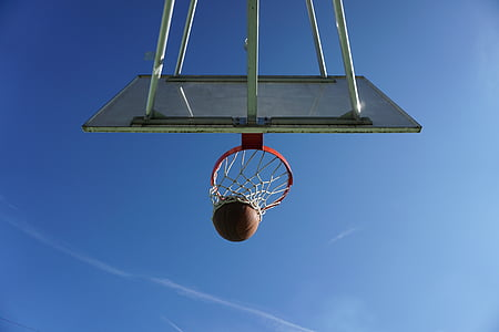 worm's eye view of basketball hoop during daytime