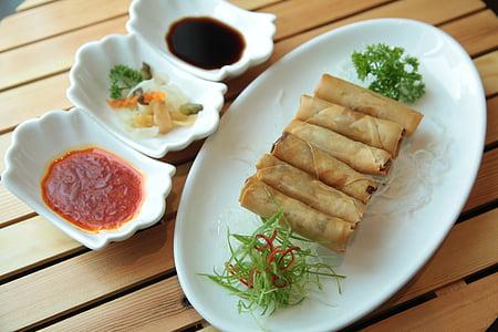 shanghai rolls on platter