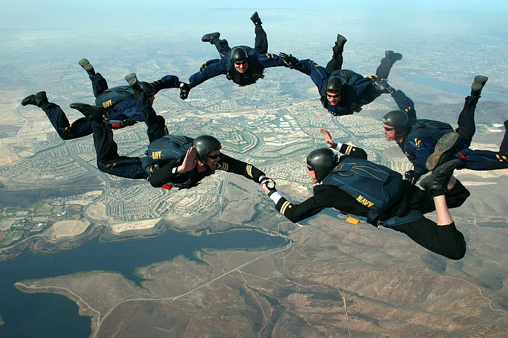 skydivers, sky, clouds, san diego, california, ground