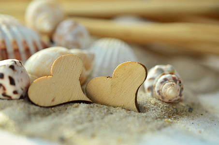 two heart-shaped brown wooden decor on sand