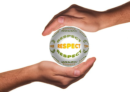 respect text between hand
