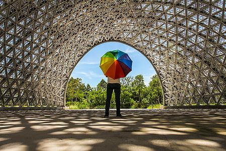 person holding rainbow-colored umbrella