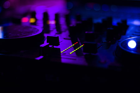 tilt-shift photography of dj controller