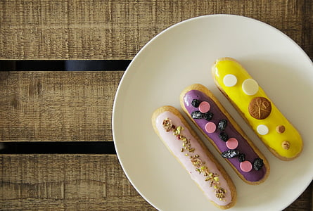 three assorted-flavor pastry