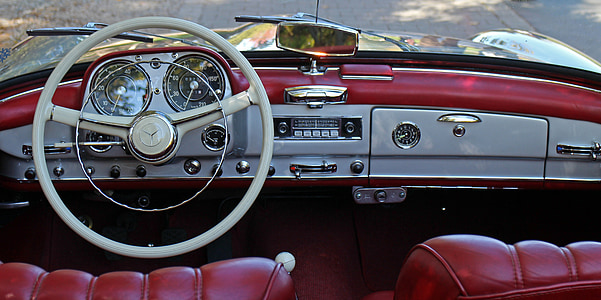 red and gray Mercedes-Benz interior