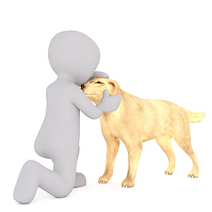 brown dog with person illustration