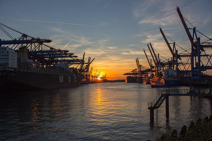 shipyard during sunset