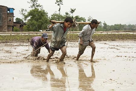 three men standing on mud during daytime