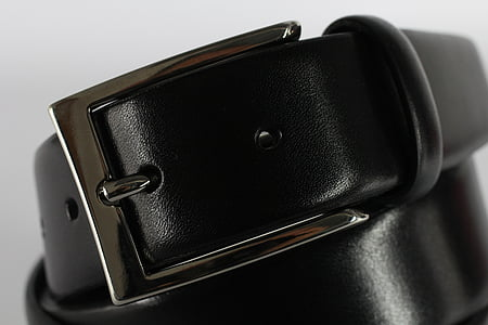 black leather with black gray buckle
