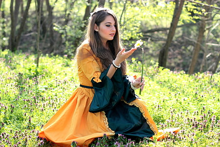 woman wears orange and blue dress sits on green grass field holds petaled flower at daytime