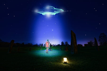 man caught by UFO during night