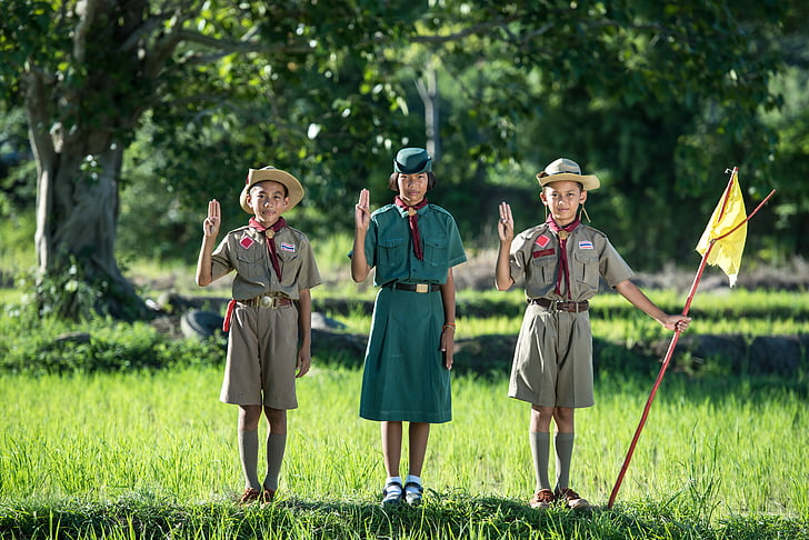 woman wearing girl scout uniform