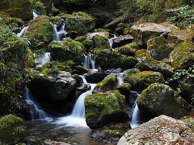 waterfalls and gray rocks