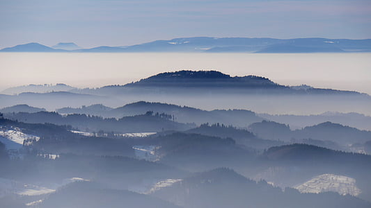 landscape photography of mountain with fogs