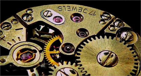 brass-colored clockwork