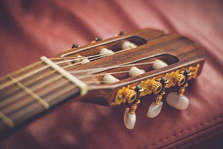 closeup photo of classical guitar headstock