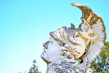 closeup photo of white spartan statue