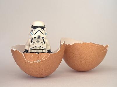 Darth Vader mini figure on brown egg