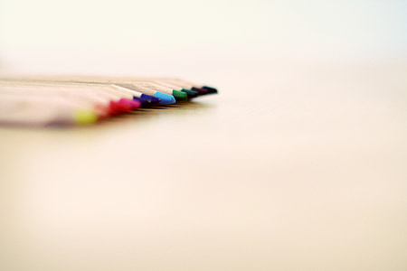 selective focus photograph of color pencils