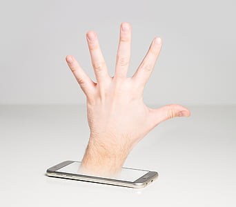 person showing hand on phone