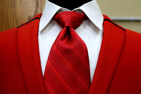 red and white collared suit with necktie