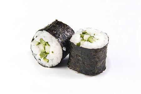 maki, sushi, rice, avocado, roll, food