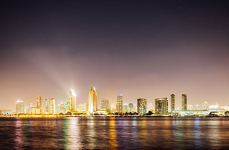 landscape photography of cityscape beside body of water at night