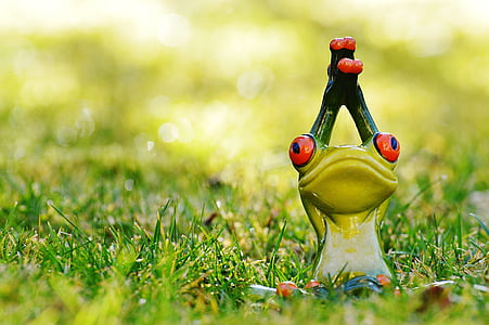 shallow focus photography of green ceramic toad figurine in grass field
