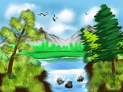 river with trees painting