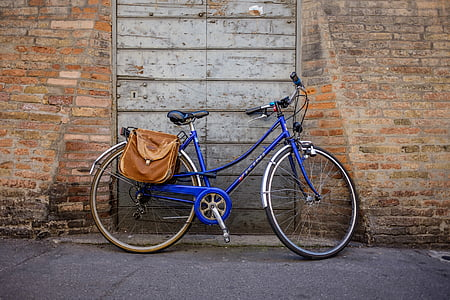 blue and grey bicycle parked infront of door