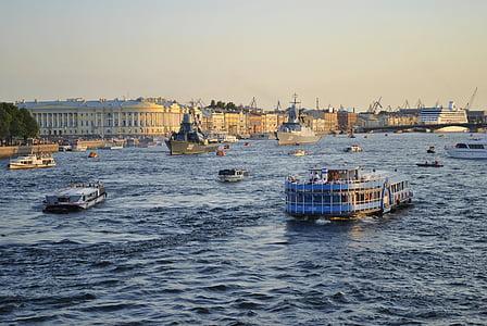 st petersburg, russia, neva river, water, boats, ships