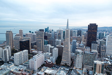 aerial view of concrete high rise buildings