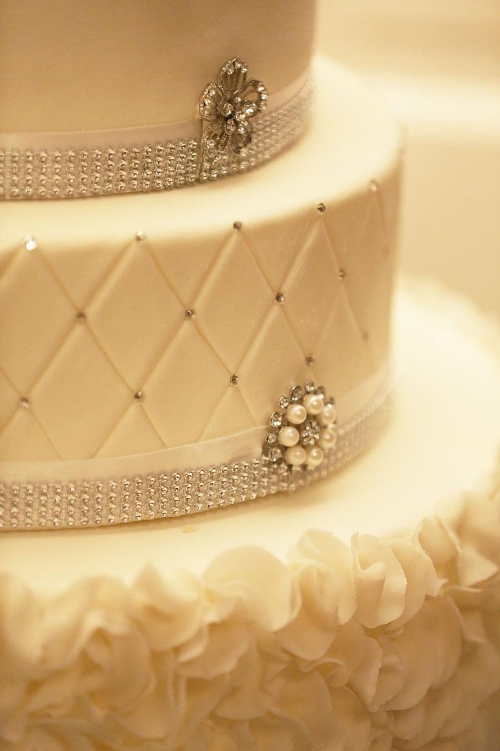 Royalty-Free photo: Cake, decoration, wedding-cake, white, fancy ...