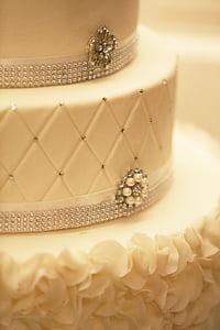 cake, decoration, wedding-cake, white, fancy, jewelry