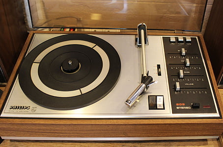 gray and black Philips turntable