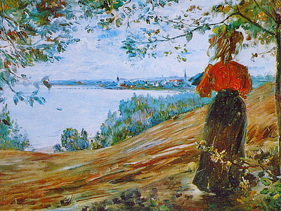 painting of woman in red dress and black skirt standing near seashore