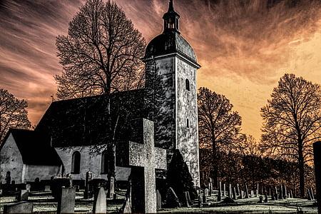 gray concrete chapel near graveyard painting